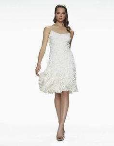 Theia Ivory White Petal Dress Size 2 $695 #THEIA