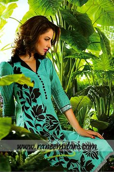 Sana Samia Eid dresses by Lala Textile 2014 online shopping Chicago Illinois $140.00 Printed cotton shirt with floral embroidery work at front. Collar neckline with front buttons. Elbow length sleeves. Plain straight trousers with hidden waistband. Hemming finish. 10
