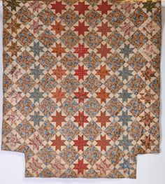 "19th C., Sawtooth Star, Chintz and cotton fabrics, 83 x 72"", John McInnis Auctioneers, Live Auctioneers"