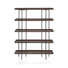 Shop Beckett 5-High Shelf.   Wood shelves stack five high for lots of storage with leather tabs in back for distinctive detail.  Unique graining, knots, splits or fissures in the wood add to the distinct character of this exceptional shelving unit.