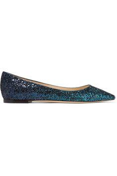 Jimmy Choo - Romy Dégradé Glittered Leather Point-toe Flats - Teal - IT37.5