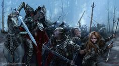 But seven days later, as the Orcs made their last assault and had already broken through the stockade, there came suddenly a music of trumpets, and Caranthir with his host came down from the north and drove the Orcs into the rivers. ~ The Silmarillion, Chapter 17 (The rescue of the Haladin by Ladyoftheflower, deviantART)
