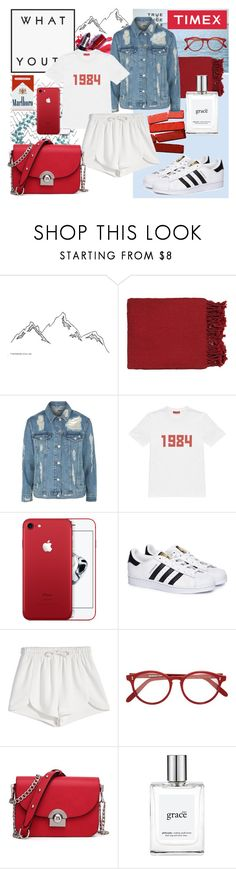 """""""Denim Babe"""" by dittetr ❤ liked on Polyvore featuring Marni, Surya, Timex, Topshop, Gosha Rubchinskiy, adidas, Francesco Scognamiglio, Cutler and Gross and philosophy"""