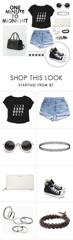 """One Minute To Midnight"" by cherilyncherie ❤ liked on Polyvore featuring Bershka, Topshop, Henri Bendel, Converse and MANGO"
