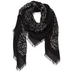 Treasure&Bond 'Bandana Medallion' Scarf ($48) ❤ liked on Polyvore featuring accessories, scarves, black combo, oversized scarves, bandana scarves and oversized bandana
