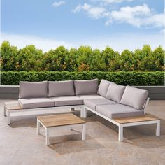 No homemaker should have to settle for a less-than-extravagant outdoor patio area - improve the space with the help of this upscale, fully-configurable sectional sofa set, adaptable to outdoor living areas both large and small. Faux wood accents give Garden Sofa, Garden Cottage, Outdoor Living Areas, Outdoor Spaces, Outdoor Sofa Sets, Outdoor Decor, Outdoor Sectional, Outdoor Seating, Restoration Hardware Outdoor