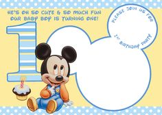 Awesome Mickey Mouse 1st Birthday Invitations