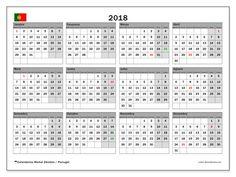 Calendário para imprimir  2018 - Feriados públicos em Portugal
