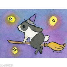 Witch Bunny Rabbit Black White Original Halloween ACEO Watercolor | eBay