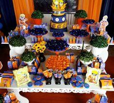 Decoração de aniversário para todos os temas. 10th Birthday Parties, Teen Birthday, Birthday Dinners, Birthday Party Themes, Birthday Ideas, Naruto Party Ideas, Naruto Birthday, Anime Cake, Party Treats