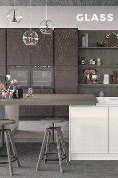 Cucina Moderna - GLASS Finitura vetro nero opaco con telaio inox ...