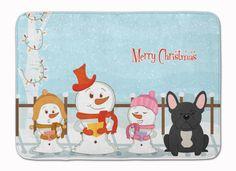 Merry Christmas Carolers French Bulldog Black Machine Washable Memory Foam Mat BB2345RUG