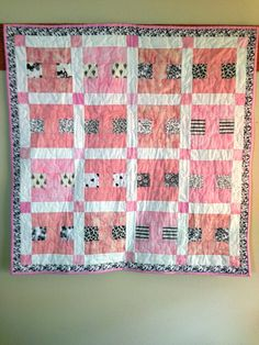 Pink Black and Grey Small Quilt Receiving by LawsonCreations