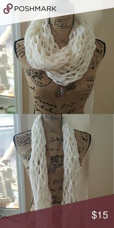 Messy_Boutiqu3 - Arm Knitted Infinity Scarf Double Arm Knitted Infinity Scarf. Yarn is 60% acrylic, 20% wool, 20% alpaca. White. New. Handmade. Accessories Scarves & Wraps