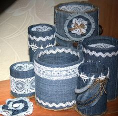 How to make organizer from old jeans - Crazzy Craft Tin Can Crafts, Jean Crafts, Denim Crafts, Diy Home Crafts, Arts And Crafts, Recycled Denim, Recycled Crafts, Recycle Cans, Jar Art