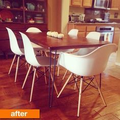 Before & After: A Heavy, Outdated Dining Table Turns Sleek and Modern Furniture Rehab, Decor, Table, Furniture Makeover, Furniture, Dining, Table Makeover, Dining Table, Vintage Side Table