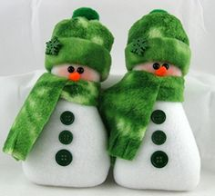 Christmas Decoration Flurrie Frizzle Handmade Stuffed Snowman Ornaments in Tie Dye Green Fleece Set of 2. In a set of 2 Flurrie Frizzle Decorative handmade ornaments are the perfect decoration for the winter and Christmas holiday season. Made from Blizzard Fleece and stuffed with the best fiberfill to make them soft and plush, they are approximately 6 inches tall and approximately 2 1/2 inches wide at the base. They were originally created to be bowl fillers or tuckin's but I also added a...
