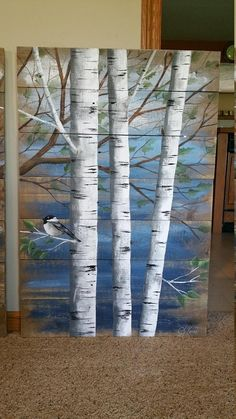 Painting On Wood Pallet White Birch Wall Decor Painting 4 Piece Set 9 Wide Total Hand Painted Dark Blue Reclaimed Wood Rustic Shabby Painting On Wood Pallet White Birch Wall Decor Painting 4 Etsy Pallet Painting, Tole Painting, Painting On Wood, Rustic Painting, Wood Paintings, Watercolor On Wood, Colorful Paintings, Unique Wall Art, Pictures To Paint
