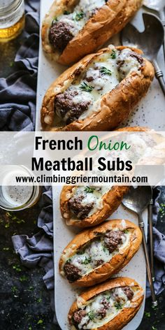 French Onion Meatball Subs – Climbing Grier Mountain French Onion Meatball Subs are a delicious sandwich to serve any night of the week! Tastes like the classic French Onion Soup only in meatball form! Meatball Sub Recipe, Meatball Subs, Meatball Sub Sandwiches, Frozen Meatball Recipes, Sandwich Sous-marin, Sandwich Recipes, Sandwich Ideas, Gourmet Recipes, Beef Recipes