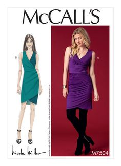 Nicole Miller for McCall's sewing pattern. M7504 Misses' Surplice, Side-Pleat Dresses. Faux wrap
