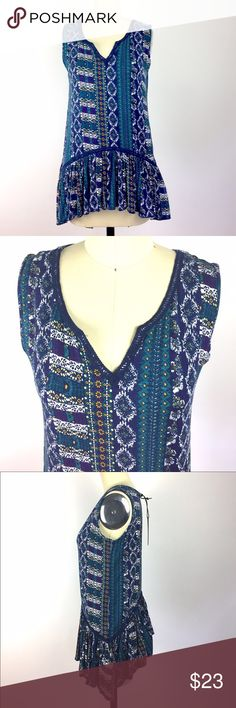 """Max Jeans """"Lulu"""" Floral Sleeveless Boho Top XS Super soft sleeveless top by Max Jeans. Blue and green floral print, Flowy hemline, v-neck. 95% rayon, 5% spandex. 16.5"""" armpit to armpit, 27"""" lengths New with tags. A03040 Max Jeans Tops Blouses"""