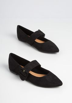 Mod For Mary Jane Flat - An updated take on the classic mary jane silhouette, these black flats are a chic and timeless addition to any shoe collection. Made from a faux-suede upper, these shoes have a wide mary jane strap with an enlarged buckle closure along with a pointed toe. All subtle yet statement-worthy details is what this comfy and cute pair are all about. Cute Shoes Flats, Comfy Shoes, New Shoes, Women's Flats, Black Dress Shoes, Black Flats, Olive Green Shoes, New Arrival Dress, T Strap Heels