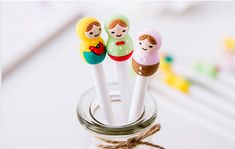 Set of 3 Kawaii Girl Gel Pens  cute stationery, kawaii pens by GinkoSupplies on Etsy