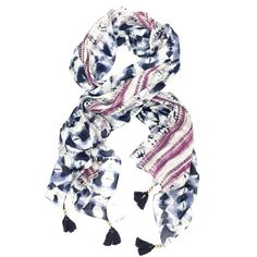 Lucky Brand Boho Tie-Dye Striped Tasseled scarf Look urban boho in this striped tie-dyed scarf! It will add a boho style to any outfit. Scarf is made of 100% modal and has navy tassels with goldtone beads. Brand new with tags! Retails $60 Lucky Brand Accessories Scarves & Wraps