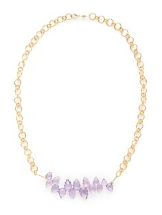Gold Chain & Amethyst Necklace by Alanna Bess Jewelry at Gilt