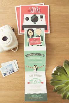 """Smile. You're invited"" Wedding Invitation # Wedding / Polaroid / Camera / Fujifilm Instax Mini / Photography #"