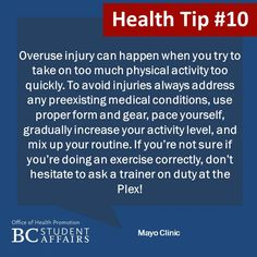 Avoid overuse injury by switching up your routine, activating all muscle groups, and making sure you're doing exercises properly