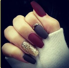 nail designs Trendy Manicure Ideas In Fall Nail Colors;Purple Nails; Purple Nails, Gold Nails, Matte Nails, Fun Nails, Prom Nails, Maroon Nails, Matte Gold, Nail Art Designs, Acrylic Nail Designs