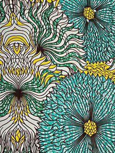 wax africain motif fleure bleu vert ✫♦๏༺✿༻☼๏♥๏花✨✿写☆☀🌸✨🌿✤❀ ‿❀🎄✫🍃🌹🍃❁~⊱✿ღ~❥༺✿༻🌺☘‿MO Apr ♥⛩⚘☮️ ❋ African Textiles, African Fabric, Ankara Fabric, African Patterns, African Prints, Textile Patterns, Cool Patterns, Print Patterns, Afrique Art