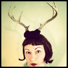 Deer Antler Headband  black base with 8 point horns by doublespeak, $89.00