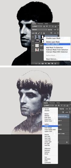 Kids / follow  http://design.tutsplus.com/tutorials/make-a-trendy-double-exposure-effect-in-adobe-photoshop--cms-23774