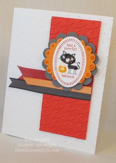 Tricky Treats Halloween Card - scallop circle punch, embossing folder, dyed ribbon - Hand Stamped Style