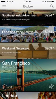 Hitlist iPhone travel, booking, lists, explore screenshot List