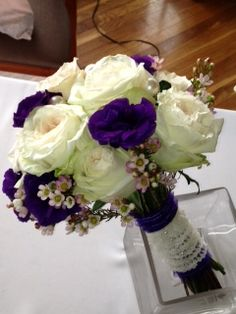 bridal bouquet of blush garden roses, deep purple lisianthus, waxflower with lace and pearls  #pinparty