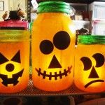 Pumpkin Glass Jars - a great craft for kids AND adults! Decoupage, add a LED votive and you're good to go!  Start saving all your great shaped glass jars now for Halloween fun...soon! These are so much fun to make, share with friends and keep from year to year!