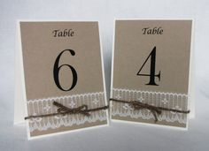 Table NumbersKraft Lace Twine Rustic Wedding by LoveofCreating, $25.00