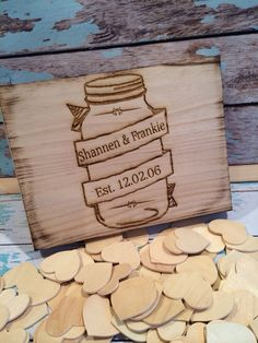 wedding guest book, book idea, guest book alternatives, guest books, mason jar, rustic weddings, wooden boxes, wedding guests, wood burning box