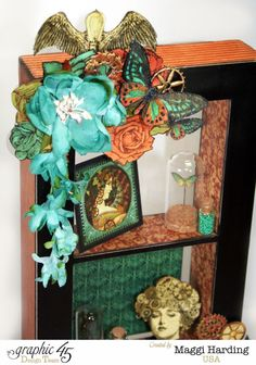 "'Window shadow box"" (view 2) using ,""Steampunk Debutante"" by Maggi Harding Design Team for Graphic 45 - Wendy Schultz ~ Graphic 45 Projects."