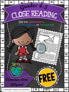 Close Reading Passage 4/5th grade (Informational Texts) FREE