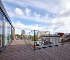 Brimelow McSweeney Architects - Whitfield Street, Fitzrovia, London - Roof Terrace, Office, Glass Ballustrade, View - image by Andy Stagg