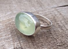 Large Oval Apple Green Prehnite Semi Precious Stone Sterling Silver Ring by GildedBug on Etsy