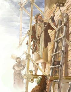 Noah and his family build the ark
