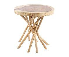 Mesa auxiliar de madera de mungur y teca April