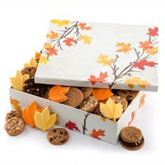 Give the gift of Mrs. Fields cookies in this fabulous Fall Leaves Box. @Mrs. Fields Scarborough Town Centre. #cookies #gifts