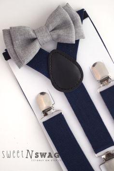 SUSPENDER & BOWTIE SET. Newborn - Adult sizes. Navy Blue Suspenders. Chambrey grey bowtie.