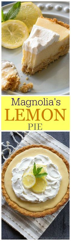 Pie - light, sweet and tart lemon pie with a thick graham cracker crust. From Joanna Gaines from Magnolia Market!Lemon Pie - light, sweet and tart lemon pie with a thick graham cracker crust. From Joanna Gaines from Magnolia Market! Easy Lemon Pie, Lemon Pie Recipe, Lemon Recipes, Sweet Recipes, Pie Recipes, Recipies, Lemon Desserts, Just Desserts, Delicious Desserts